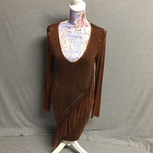 Brown Long Sleeve Fringe Fitted Dress
