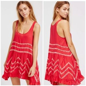 Free People Voile Lace Cherry Trapeze Slip Dress