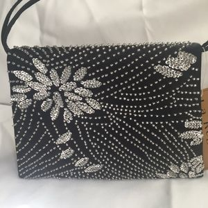 NWT La Regale Black Evening Bag with White Beading