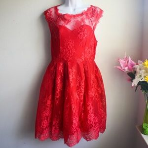 Dresses & Skirts - Red Laced Pleated Dress