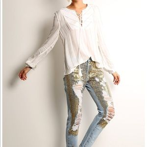NWT! Litz Gold Sequin destroyed Jeans! Must have!
