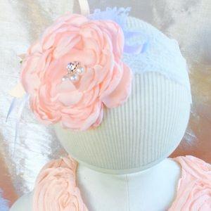Peach flower headband, girl flower headband,flower