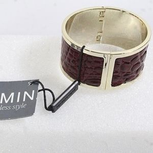 Brahmin Bracelet, Red Leather with gold tone