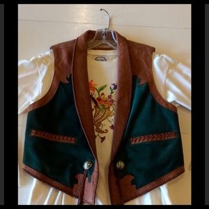 NWOT Hand Tooled Size 8 Handmade Suede and Leather Vest by Chituro