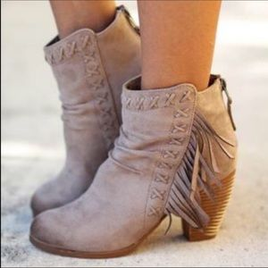Rustic Boho Chic Fringe Stacked Ankle Booties