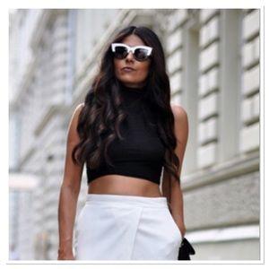Black and White Cat-Eye Sunglasses