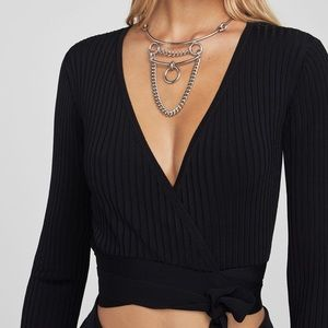 BCBG ribbed wrap top