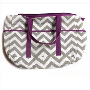 Handbags - Chevron Diaper Large Tote Bag! Purple & Gray