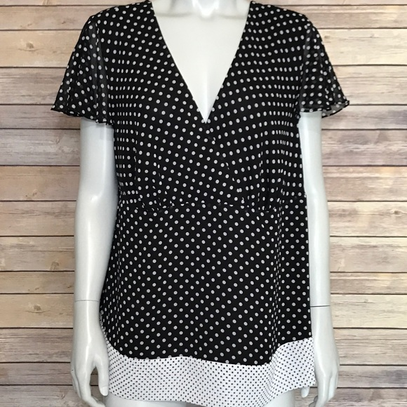 07b010d3bb77c  lane bryant  black and white polka dot blouse