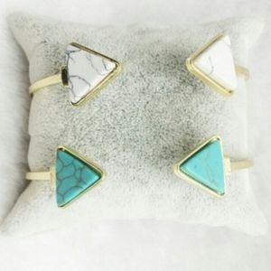 Jewelry - Boho Gold Turquoise Marble Arrow Open Cuff Bangle