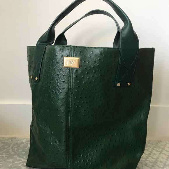 Diane Von Furstenberg Bags   Dvf Green Ostrich Tote Bag   Poshmark d13ab46540