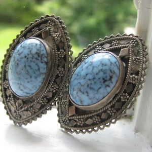 Oval turquoise stone clip earrings Vintage GREAT