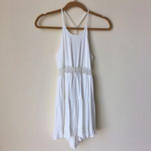 Dresses & Skirts - Boho White Open Twist Back Crochet Sun Dress