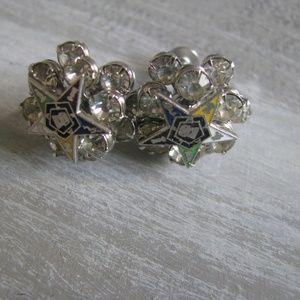 Rhinestone Eastern Star vintage Screw bck earrings