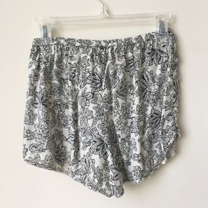 Pants - White and Black Patterned Flowy Summer Shorts