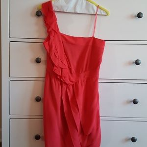 Coral One Shoulder Ruffle Dress