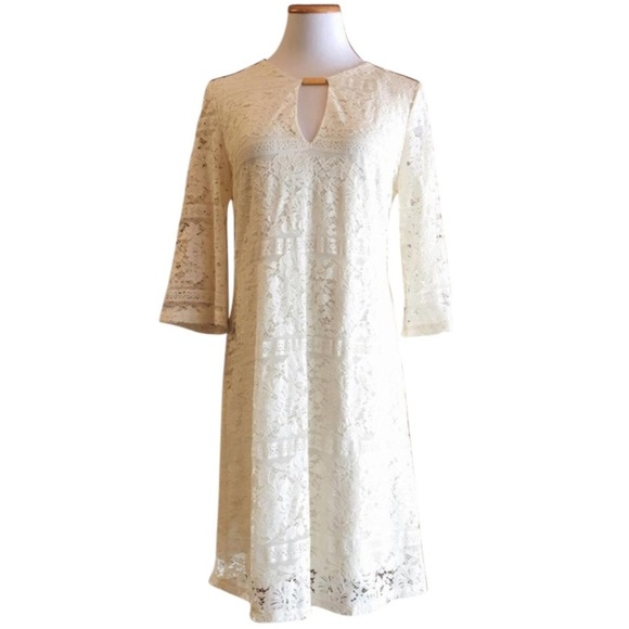 Tacera Dresses & Skirts - Tacera cream ivory lace feminine v neck dress