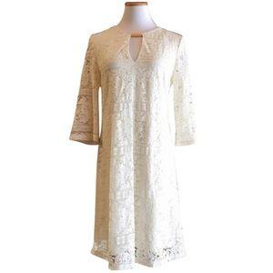 Cream ivory lace v neck holiday Christmas dress
