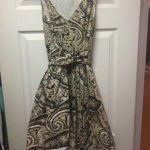 JCrew Paisley dress with wrap waist - Navy/Beige