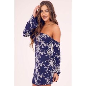 Navy Floral Embroidery Woven Off Shoulder Dress