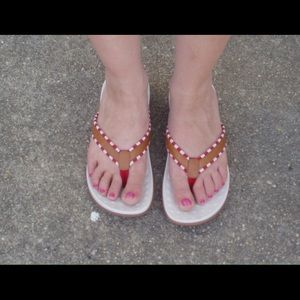 Orthaheel Red Striped Sandals