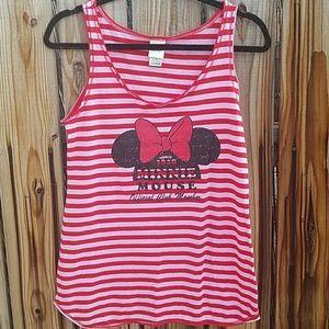 Tops - Disney striped minnie mouse sleeveless top