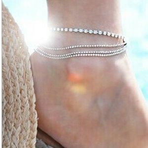 Jewelry - New 4 Strand Silver Plated & CZ Anklet!