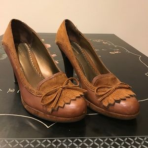 Caramel brown leather and suede heels. Sz 9.5