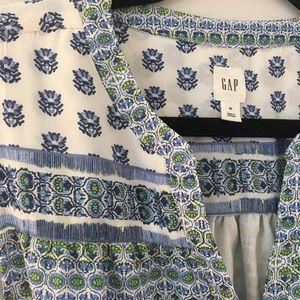GAP Dresses - Gap Dress in White with Blue & Green Flower Detail