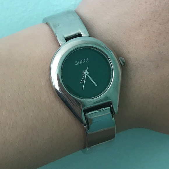62b1ce9aef4 Gucci Accessories - Vintage Silver Gucci Watch with Green Face