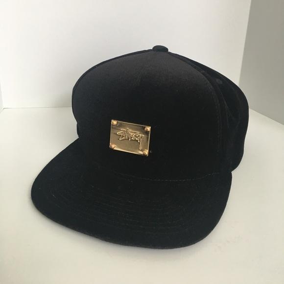 Black Velvet Stussy SnapBack with Gold Accent. M 598601d4ea3f365cbe02f85f ebf1c01f072