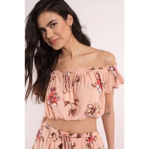Tops - Blush Floral Off The Shoulder Crop Top