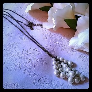 J. Crew Graduating Faux Pearl Cluster Necklace