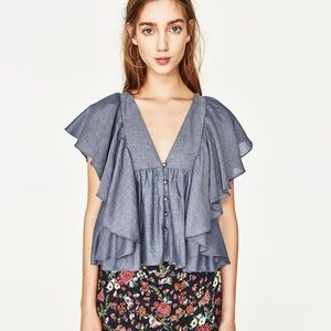 New with tags Zara frilled top size small