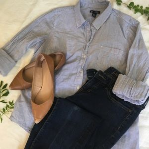 Old Navy Small Blue Pinstripe Button Down