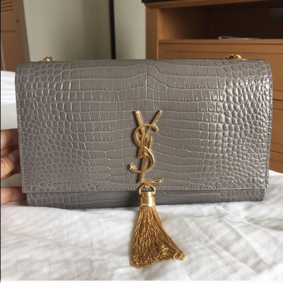 cd6a4f80fc YSL GRAY KATE MEDIUM CROC EMBOSS