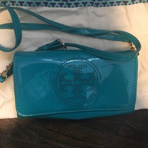 Tory burch perforated patent leather crossbody