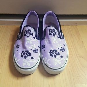 96e85c4d7bbc68 Vans Shoes - Rare Purple Embroidered Vans Slip Ons Size 9