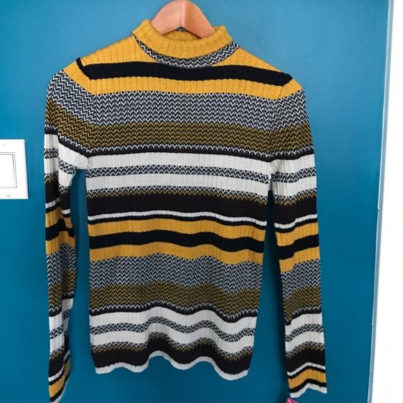 Xhilaration Sweaters Black And Yellow Striped Sweater Poshmark
