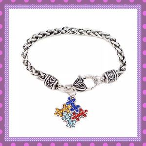 🆒Silver Jigsaw Autism Symbol Chain Bracelet🆒