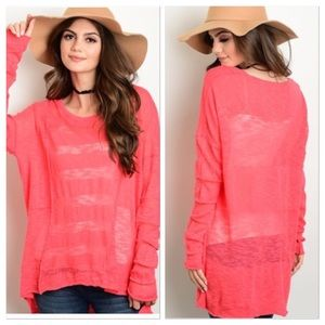 Sweaters - Lightweight coral pink sweater