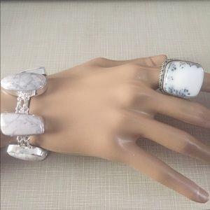 Jewelry - Pretty dendritic Opal antique design silver set