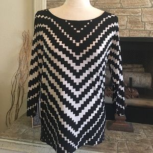 Chico's cold shoulder black and white top
