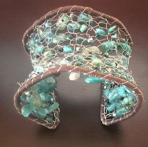 Jewelry - Green Turquoise Silver Wire Knitted Cuff