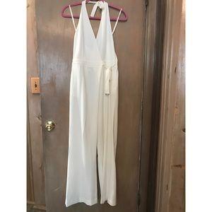 b9edf11123c H M Pants - H M White Halter Jumpsuit