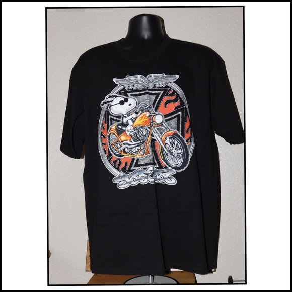 86521ffe Peanuts Shirts   Snoopy Mens Black Biker Motorcycle Tee   Poshmark