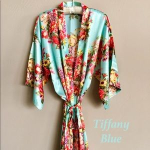 Other - Tiffany blue and floral silky robe; polyester
