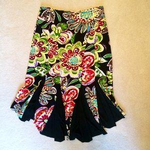 Bisou Bisou Floral Black Skirt