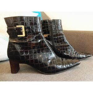 Shoes - J. Renee! Croc Embossed Square Toe Boots in Sz 8M