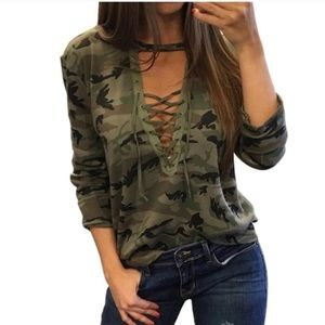 Tops - Camouflage Choker Top
